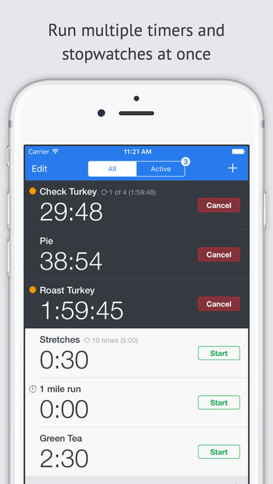 Timer+, Run multiple Timers